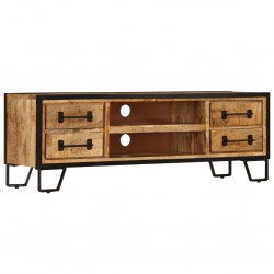 vidaXL Mesa de escritorio madera de mango maciza y acero 110x50x96 cm