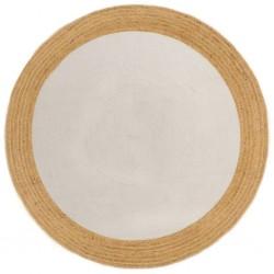 vidaXL Bolso estilo shopper beige 48x61 cm lona y cuero real