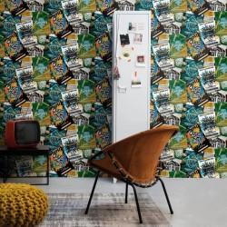 vidaXL Cortinas opacas estampadas infantiles 2 piezas 140x240cm azul