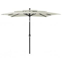 vidaXL Mesa y sillas de jardín 3 piezas plástico blanco aspecto ratán