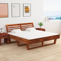 vidaXL Cama con colchón viscoelástico tela beige 120x200 cm