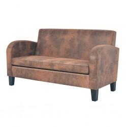 vidaXL Cama con colchón viscoelástico tela marrón 180x200 cm