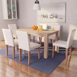 vidaXL Cama con colchón tela beige 160x200 cm