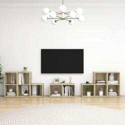 vidaXL Cama con LED y colchón tela azul 140x200 cm