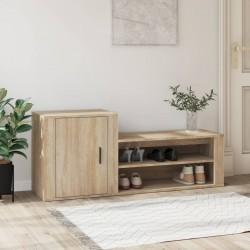 vidaXL Mueble zapatero con funda de tela color crema 115x28x110 cm