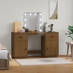 vidaXL Mesita de noche madera maciza mango negro y dorado 40x30x50cm