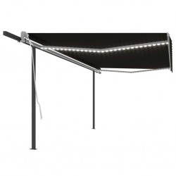 vidaXL Cenador con cortina gris antracita 4x3 m
