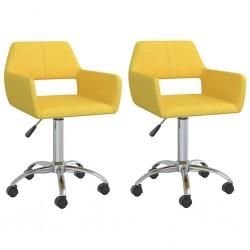 vidaXL Cortinas con anillas de metal 2 uds algodón amarillo 140x245 cm