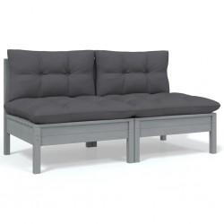 vidaXL Sillas de jardín con cojines 2 unidades bambú