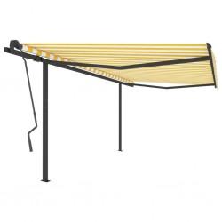 vidaXL Cenador plegable con 2 paredes color crema 5x5 m
