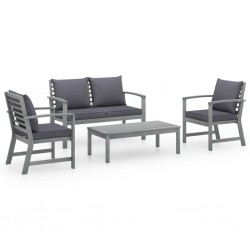 vidaXL Juego de muebles de jardín 2 piezas madera cojín gris antracita
