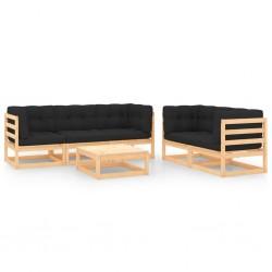 vidaXL Set muebles de comedor de jardín 7 pzas madera pino impregnada