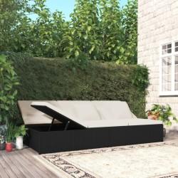 vidaXL Cenador con cortinas ratán sintético crema 3,5x3,5x3,1m 140g/m²