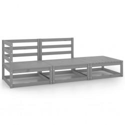 vidaXL Set de sofás de jardín 5 piezas y cojines ratán sintético gris