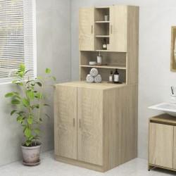 vidaXL Reloj de mesa naranja y negro hierro y MDF 25x11x48 cm