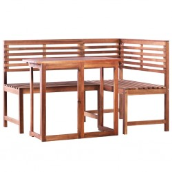 vidaXL Lámpara de pie 3 uds madera maciza de mango latón E27