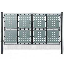 vidaXL Puerta de jardín de acero gris antracita 400x75 cm