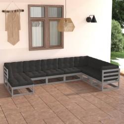 vidaXL Set de tumbonas con mesita 2 uds madera maciza de acacia