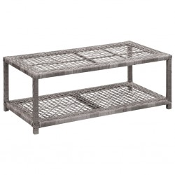 vidaXL Muebles de jardín 5 piezas ratán sintético gris madera acacia