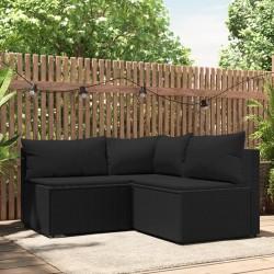 vidaXL Set de comedor de jardín de 5 piezas PVC ratán negro