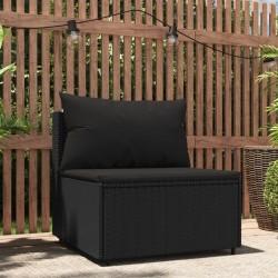 vidaXL Set de comedor de jardín de 9 piezas PVC ratán negro
