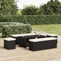 vidaXL Silla de camping plegable de 2 plazas acero y tela negro