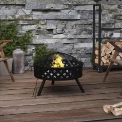 vidaXL Set funda de edredón diseño floral azul marino 200x220/60x70 cm