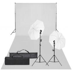 vidaXL Kit de iluminación de estudio con trípodes y sombrillas