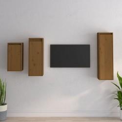Tander Carrito de cocina de madera maciza reciclada 87x36x81 cm